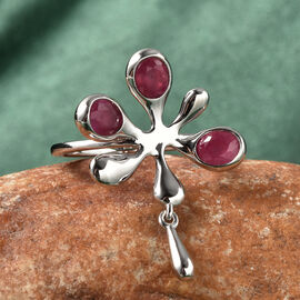 LucyQ Splash Collection - African Ruby (FF) Ring in Rhodium Overlay Sterling Silver 1.49 Ct.