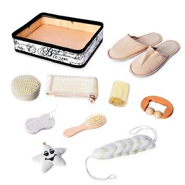 10 Piece Set - Bath Accessory Kit in Square Tray (Included Slipper, Hair Brush, 2 Sponge, Star Shape