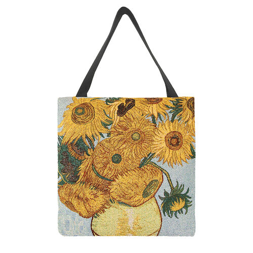 Signare Tapestry - 2 Piece Set - Van Gogh Artwork Sunflower Crossbody Bag (33x8x34cm) and Gusset Bag (22x5x17cm) in Yellow