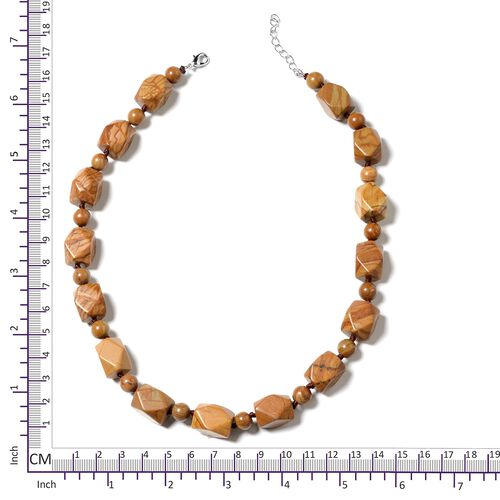 Wooden Jasper Beads Necklace (Size 18 with 1.5 Inch Extender) in Silver Tone 454.000 Ct.