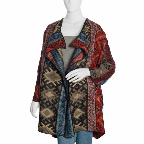 Designer Inspired -Red, Blue and Multi Colour Geometric Pattern Knitted Apparel (Size 80X50 Cm)