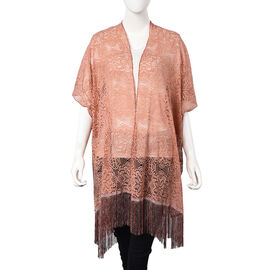 Peach Colour Floral Lace Kimono with Long Tassels (Size 90x80+14 Cm)