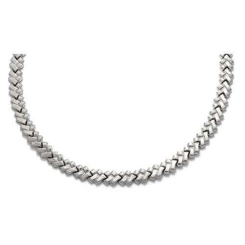 Viale Argento Rhodium Overlay Sterling Silver Necklace (Size 18)