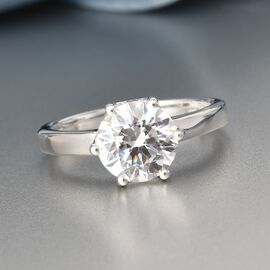 J Francis - Sterling Silver Solitaire Ring Made with SWAROVSKI ZIRCONIA 3.380 Ct.