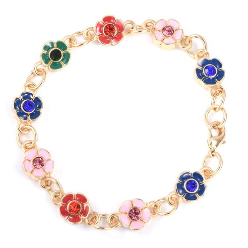 2 Piece Set - STRADA Japanese Movement Water Resistant Multi Colour Austrian Crystal Floral Watch with Matching Bracelet (Size 8) in Gold Plated Stainless Steel