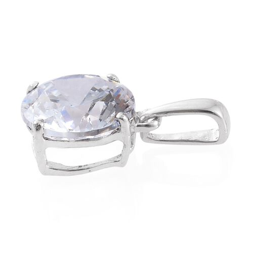 J Francis - 9K White Gold (Rnd) Solitaire Pendant and Stud Earrings (with Push Back) Made with SWAROVSKI ZIRCONIA