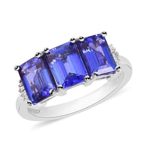 RHAPSODY 950 Platinum AAAA Tanzanite and Diamond (VS/E-F) Ring 3.75 Ct, Platinum wt 5.00 Gms