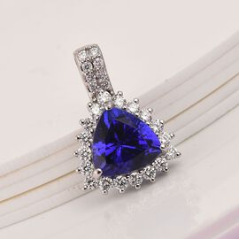 RHAPSODY 950 Platinum Tanzanite, Diamond Halo Pendant 2.98 Ct.