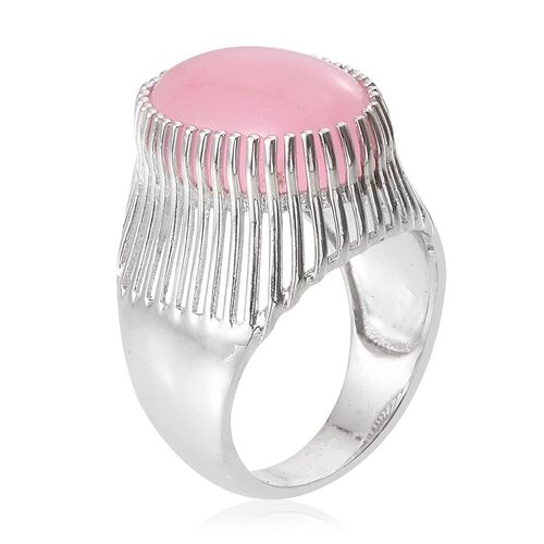 Pink Jade (Ovl) Ring in Platinum Overlay Sterling Silver 14.000 Ct.