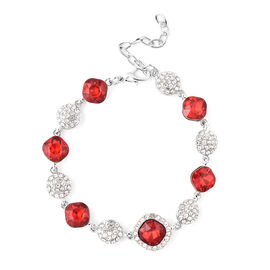 Simulated Garnet, White Austrian Crystal Bracelet (Size 8 with 2 inch Extender) in Silver Tone