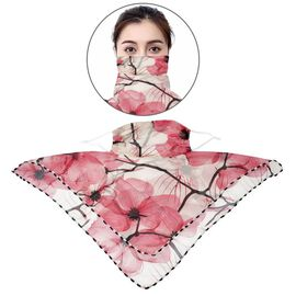 2 in 1 Flower Pattern Chiffon Soft Feel Scarf and Protective Face Mask (Size 45x45 Cm) - Off White a