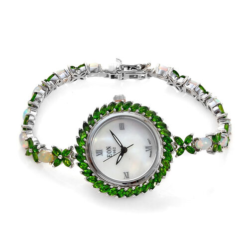 EON 1962 Russian Diopside (7.25 Ct) and Ethiopian Welo Opal (3.75 Ct) Bracelet Watch (Size 7.5) in P