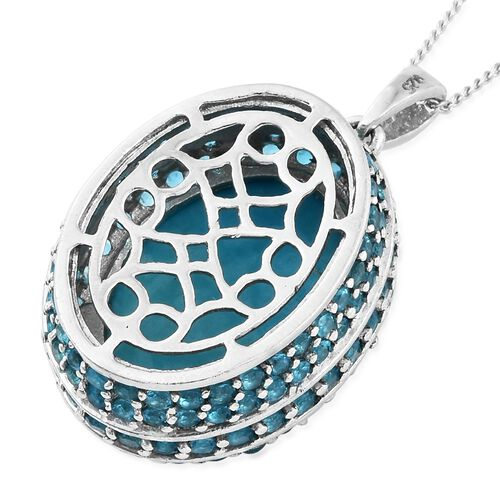 Arizona Sleeping Beauty Turquoise (Ovl 8.65 Ct), Malgache Neon Apatite Pendant with Chain (Size 18) in Platinum Overlay Sterling Silver 11.250 Ct, Silver wt 6.50 Gms. Number of Gemstone 125