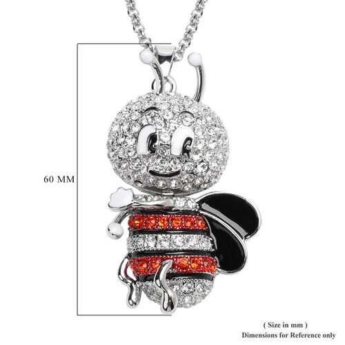 Orange and White Austrian Crystal Enamelled Cute-Bee Pendant With Chain (Size 29 with 2.5 inch Extender)