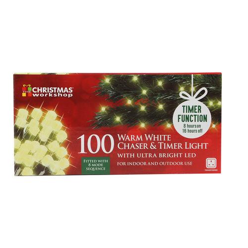 100 LED Chaser & Timer Lights - Warm White
