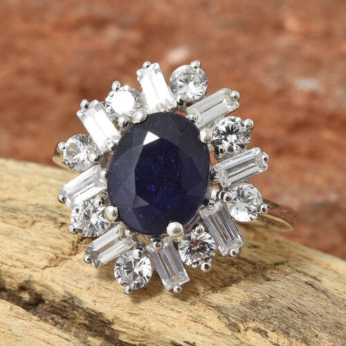 Cocktail Collection- Masoala Sapphire (Ovl 10x8 mm 3.20 Cts), Natural Cambodian Zircon Ring in Platinum Overlay Sterling Silver 6.000 Ct.