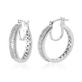 Limited Edition- Designer Inspired-Diamond (Bgt) Hoop Earrings (with Clasp Lock) in Platinum Overlay Sterling Silver 0.750 Ct.