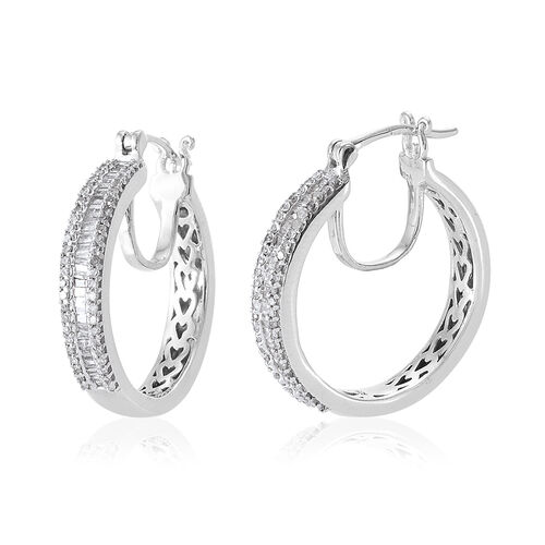 Limited Edition- Designer Inspired-Diamond (Bgt) Hoop Earrings (with Clasp Lock) in Platinum Overlay