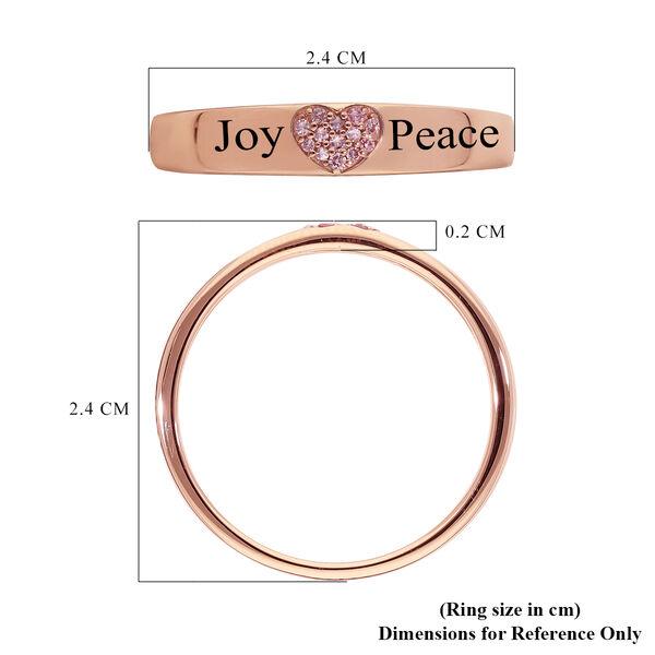 Personalised Engravable 9K Rose Gold Natural Pink Diamond Heart Band Ring