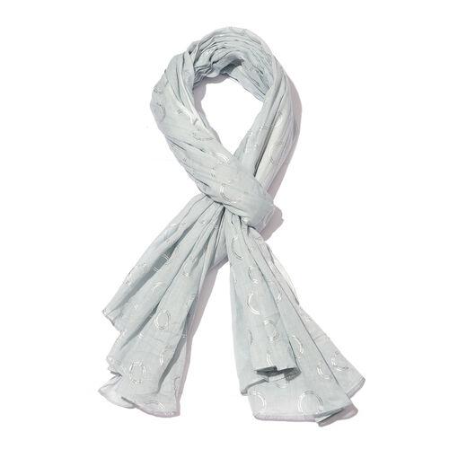 New for Season - 100% Cotton Pale Colour Scarf with Silver Foil Circle Print (Size 180x110 Cm)