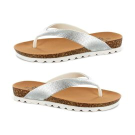 Ella Carly Sparkly Toe Post Sandals in Silver Colour