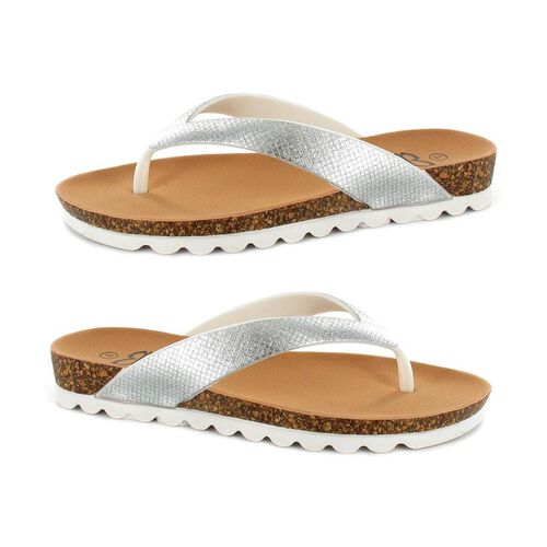 Ella Carly Sparkly Toe Post Sandals (Size 4) - Silver