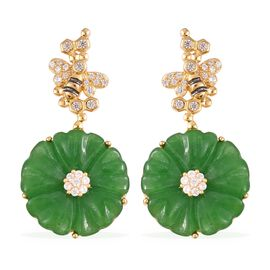 22.85 Ct Green Jade and Zircon Floral Drop Earrings in Gold Plated Silver