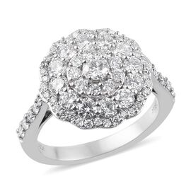 RHAPSODY 950 Platinum IGI Certified Diamond (VS/E-F) Cluster Ring 1.50 Ct, Platinum wt. 5.00 Gms