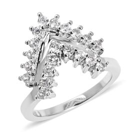 New Launch - LucyQ Tri Collection Natural White Cambodian Zircon (Rnd) Chevron Triangle Ring in Rhodium Overlay Sterling Silver
