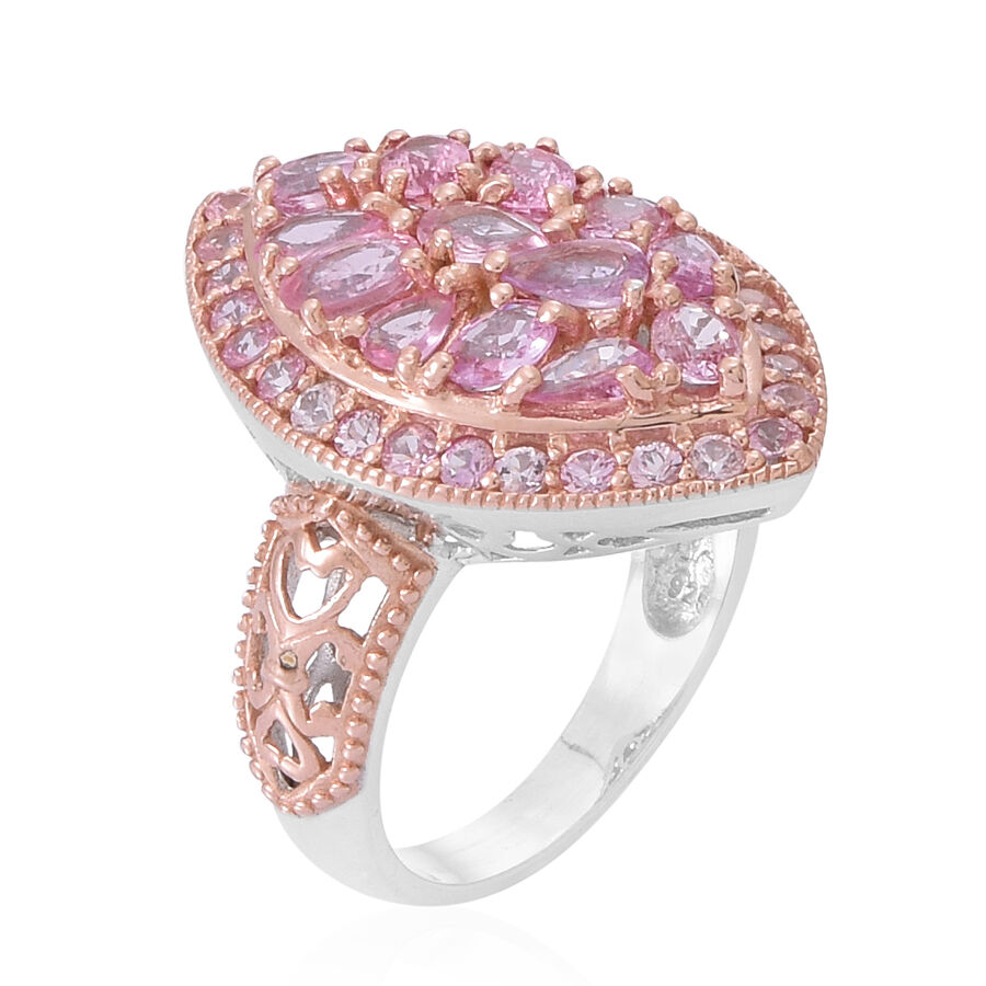 Pink Sapphire (Pear) Ring in Rhodium and Rose Gold Overlay Sterling ...