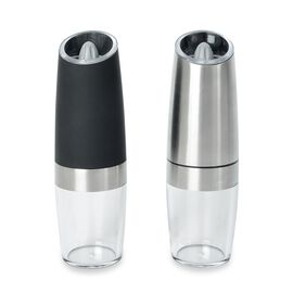 Set of 2 - Stainless Steel Automatic Gravity Salt and Pepper Mill (Size 20x6 Cm) - Black and Silver