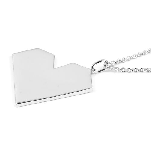 RACHEL GALLEY Rhodium Overlay Sterling Silver Heart Pendant With Chain (Size 30), Silver wt 21.09 Gms.