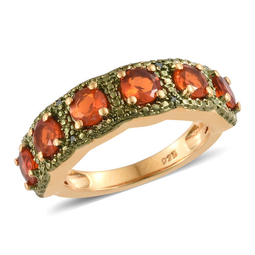 Jalisco Fire Opal (Rnd), Green Diamond Ring in 14K Gold Overlay and Green Plated Sterling Silver 1.020 Ct.