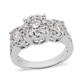 New York Close Out 14K White Gold Diamond (Rnd 5.5 mm) (I1-12/G-H) Ring 2.000 Ct, Gold wt 5.60 Gms