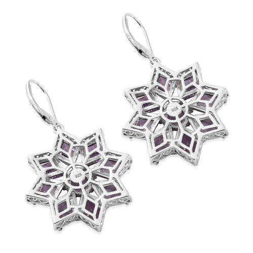 Rose De France Amethyst (KITE) Floral Lever Back Earrings in Platinum Overlay Sterling Silver 12.750 Ct. Silver wt. 10.67 Gms.
