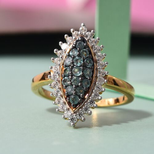 Narsipatnam Alexandrite and Natural Cambodian Zircon Cluster Ring in 14K Gold Overlay Sterling Silver 0.79 Ct.