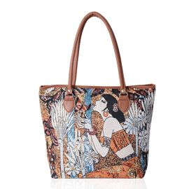 Super Chic Girl and Butterfly Pattern LargeTote Bag (Size 42x32x35x10.5 Cm)