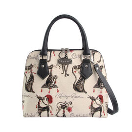 SIGNARE - Tapestry Collection - Catitude Top-Handle Shoulder Bag with Removable Strap ( 36 x 23 x 12.5 Cms)
