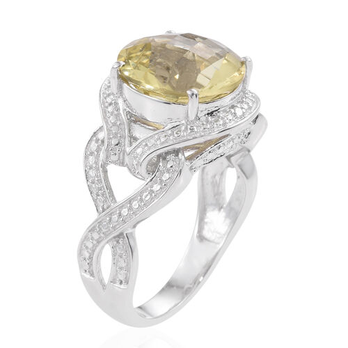 Checkerboard Cut Natural Green Gold Quartz (Rnd), Diamond Ring in Platinum Overlay Sterling Silver 5.500 Ct.