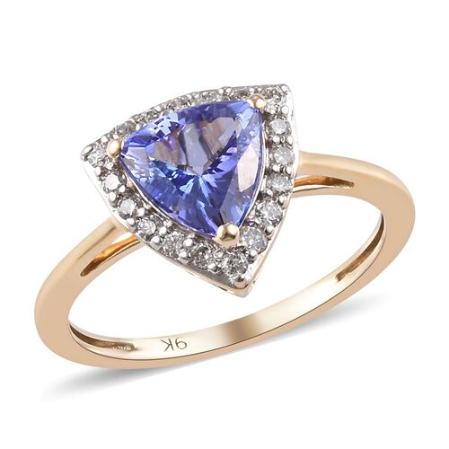 1.50 Ct AA Tanzanite and Diamond Halo Ring in 9K Gold I3 GH