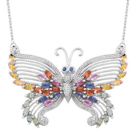 7.31 Ct Rainbow Sapphire Butterfly Necklace in Rhodium Plated Sterling Silver 17 Grams 18 Inch