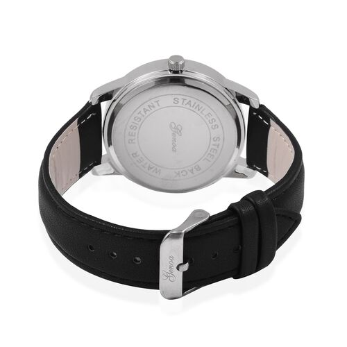 TJC GENOA Faceted Sunray Dial Japanese Movement Water Resistant Watch with Black Strap with Black Strap