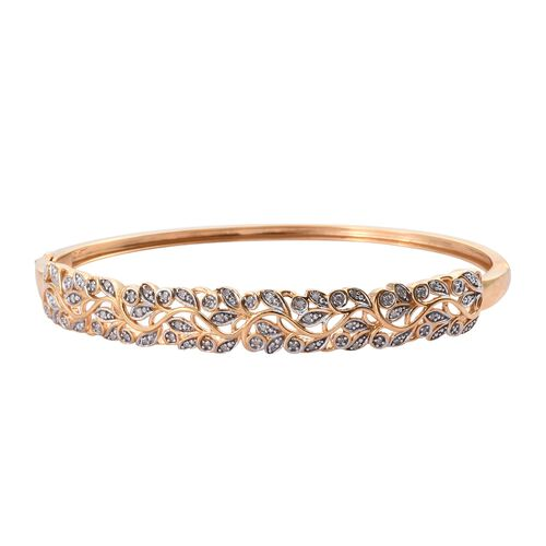 0.25 Ct Diamond Floral Bangle in Gold Plated Sterling Silver 16 Grams 7.5 Inch