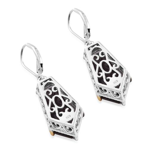 Alexandria Quartz Lever Back Earrings in Platinum and Yellow Gold Overlay Sterling Silver 20.000 Ct.