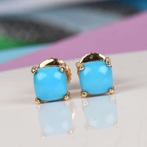 ILIANA 18K Yellow Gold Arizona Sleeping Beauty Turquoise Stud Earrings 1.00 Ct.