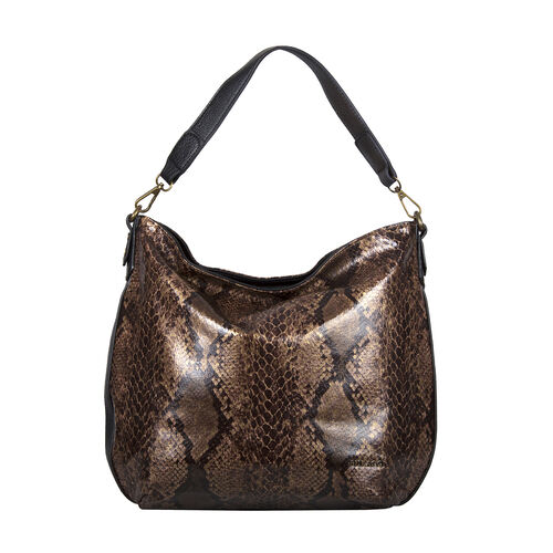 Bulaggi Collection - Protea Snake Print Hobo Shoulder Bag (Size 25x28x10cm) - Camel
