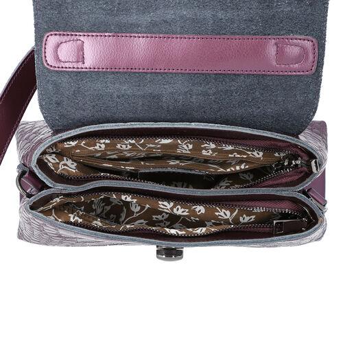 100% Genuine Leather Croc Embossed Satchel Bag with Detachable Shoulder Strap (Size 26.5x10.5x18.5 Cm) - Purple