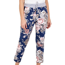 NOVA of London Large Rose Flower Print Joggers in Navy and Pink ( size up to 16 )