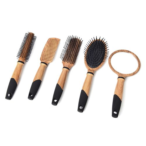Set Of 5 - Chocolate and Black Colour Wooden Pattern Flat Comb, Flat Modelling Comb, Roll Modelling Comb, Massage Comb and Mirror