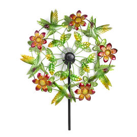 Hand Painted Multi Colour Hummingbird and Flower Wind Spinner with Solar LED (Size 48.2x20.3x177.8 C